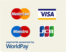 Mastercard, Visa, Maestro, JCB - Payments powered by WorldPay